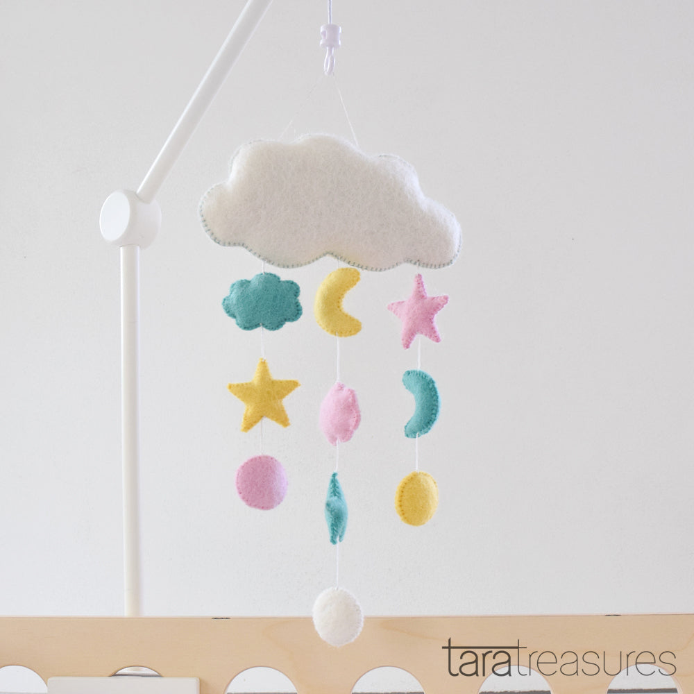 Cloud Nursery Mobile - Sweet Dreams Pastel - Tara Treasures