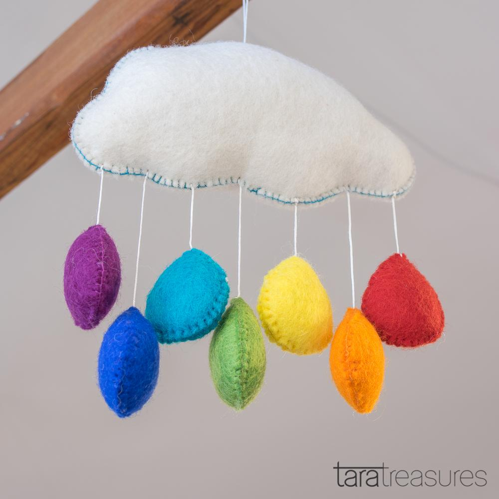 Cloud Nursery Mobile - Medium Rainbow - Tara Treasures