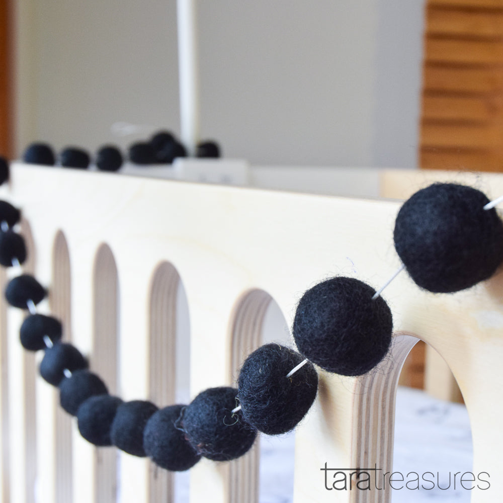 Pompom Ball Garland - Black - Tara Treasures