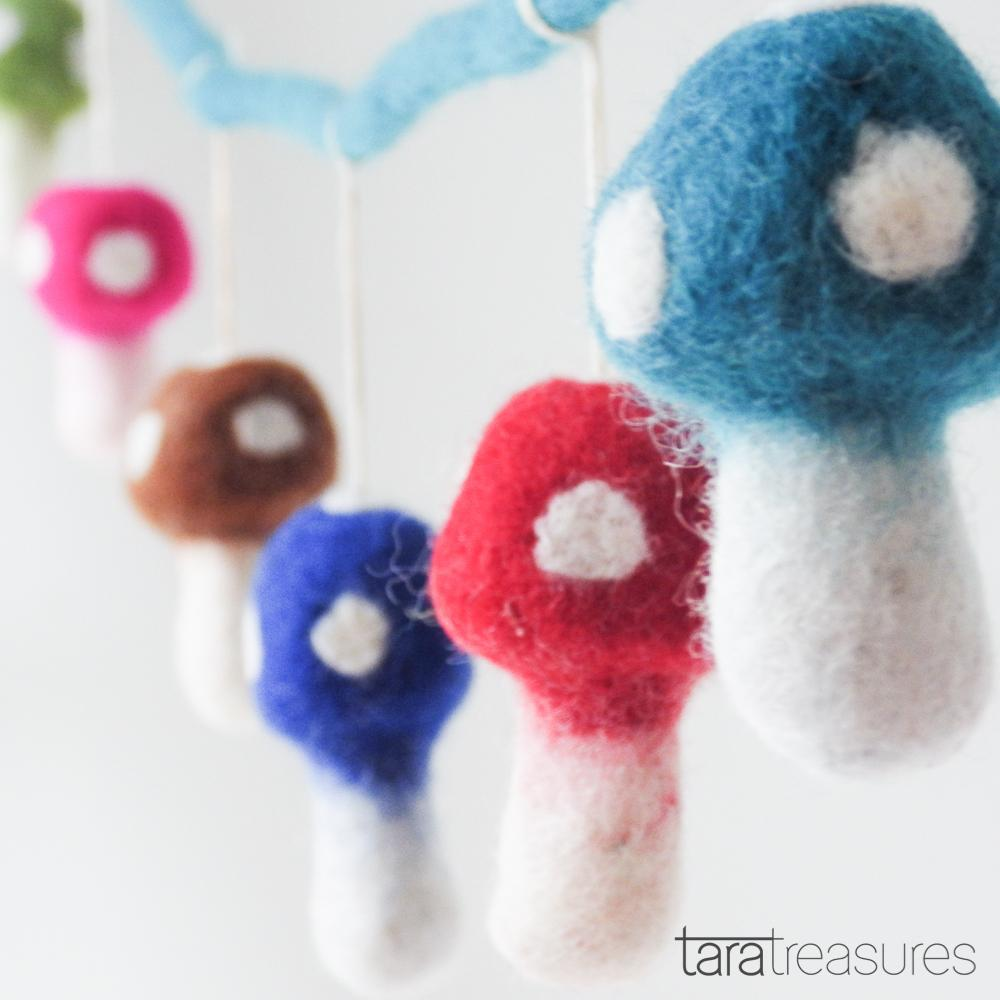 Mushroom (Toadstool) Garland - Colourful - Tara Treasures