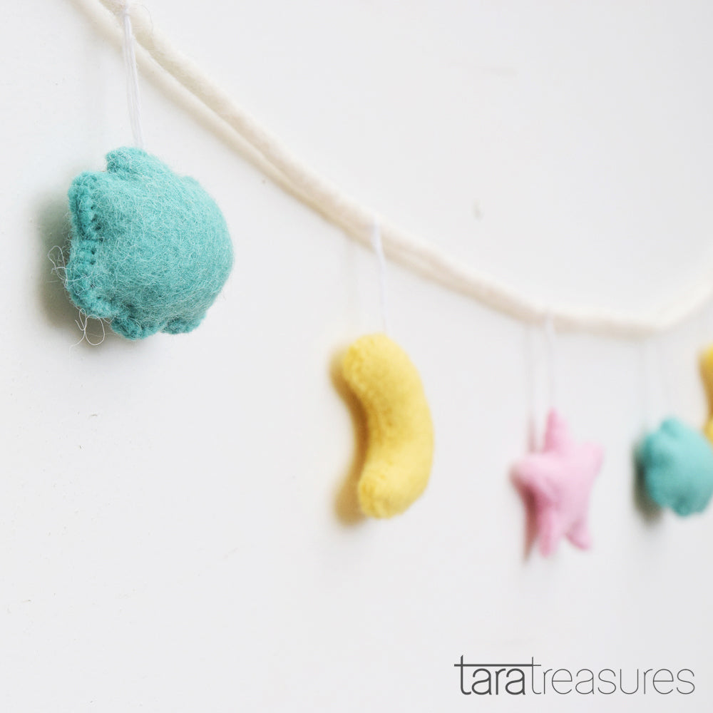 Cloud, Moon & Star Garland - Pastel - Tara Treasures