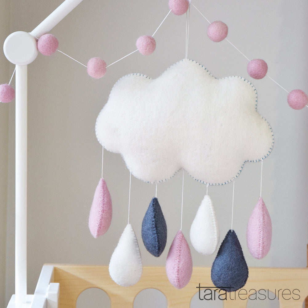 Cloud Nursery Mobile - Big Pink - Tara Treasures