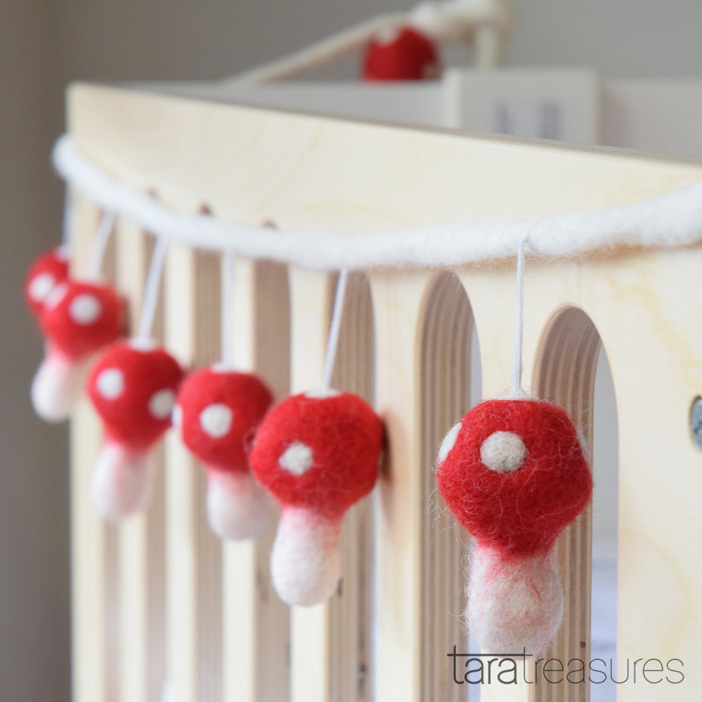Mushroom (Toadstool) Garland - Red - Tara Treasures