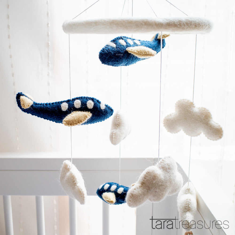 Nursery Cot Mobile - Navy Blue Airplanes - Tara Treasures