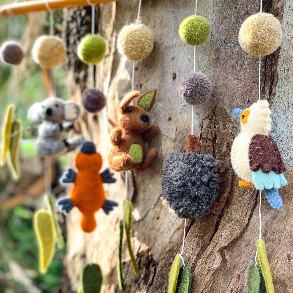 Nursery Cot Mobile Hanging - Australian Animals - Tara Treasures