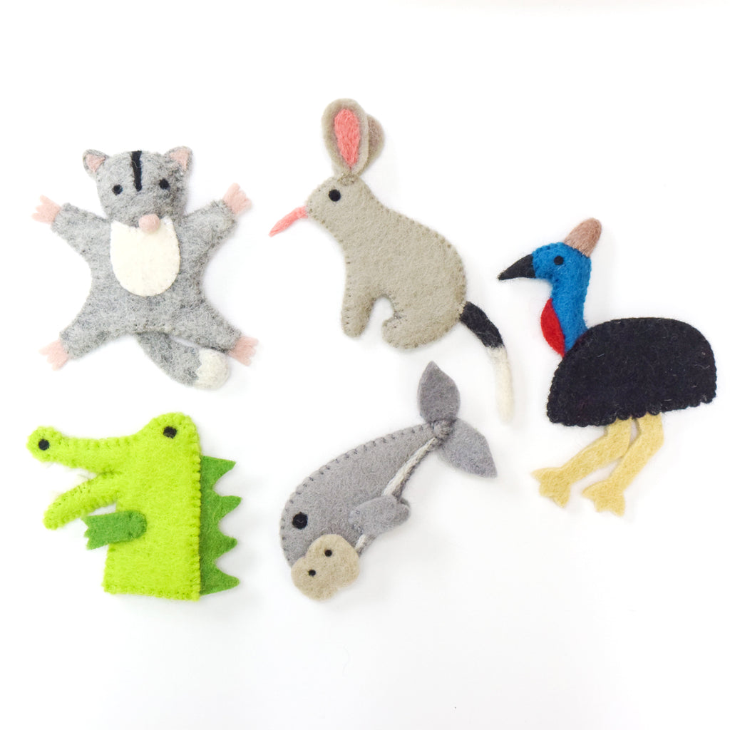 Australian Animals C, Finger Puppets Set - Tara Treasures