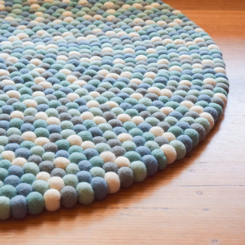 Felt Ball Rug - Blue, White and Grey 100cm - Tara Treasures