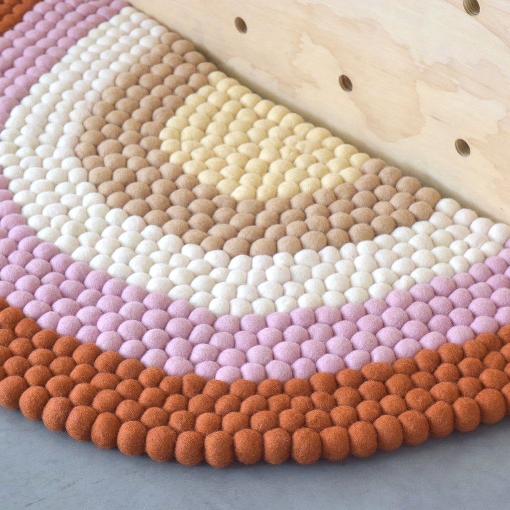 Rainbow Felt Ball Rug - Boho - Tara Treasures
