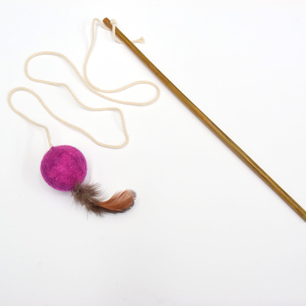 Feather Teaser Ball Cat Wand - Magenta - Tara Treasures