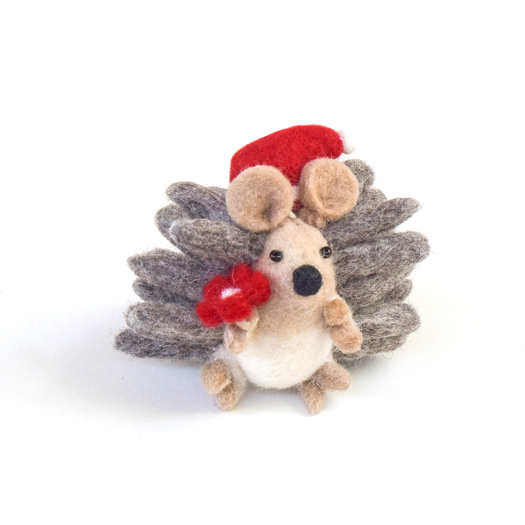 Felt Christmas Hedgehog with Flower - Tara Treasures