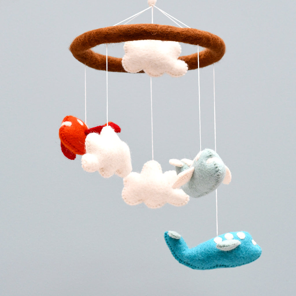 Nursery Cot Mobile - Red and Cyan Airplanes - Tara Treasures