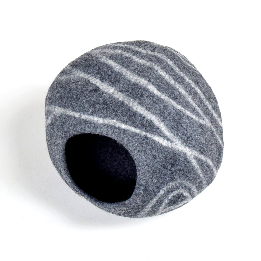 Cat Cave - Dark Grey Stone Cocoon - Tara Treasures