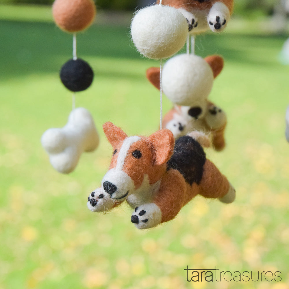 Nursery Cot Mobile - Jumping Corgi Dogs - Tara Treasures