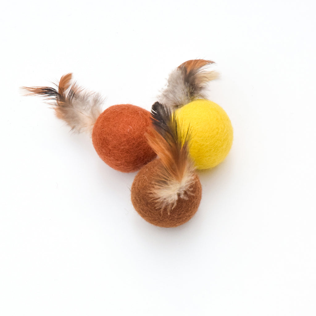 Feather Cat Balls in Earthy Colours - Set of 3 - Tara Treasures