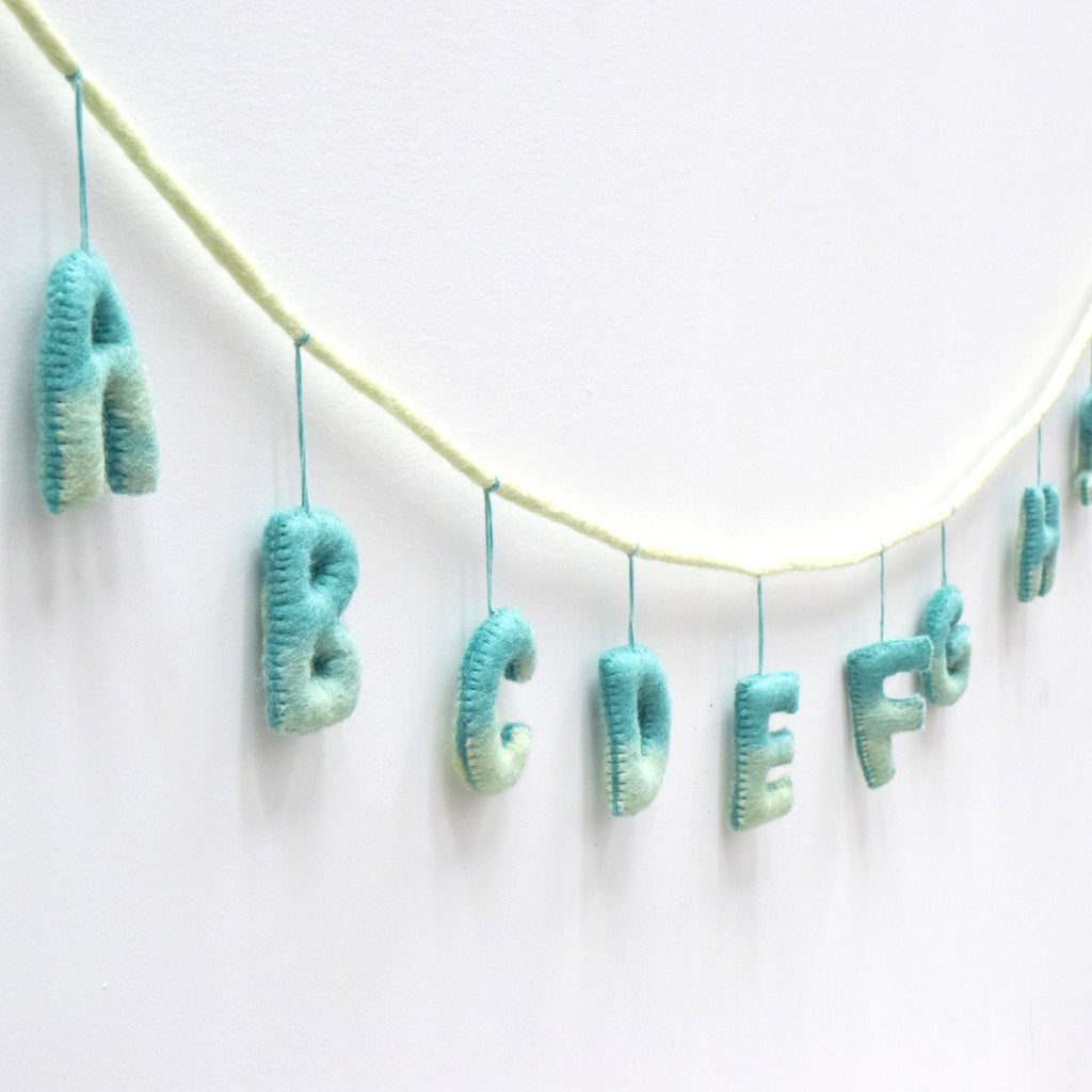 Alphabet Garland A to Z - Ocean Blue Tones - Tara Treasures