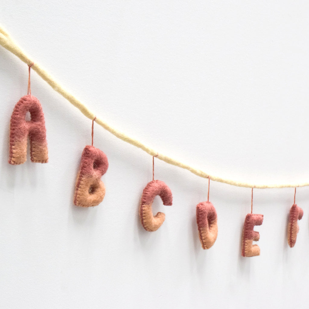 Alphabet Garland A to Z - Blush Earthy Tones - Tara Treasures