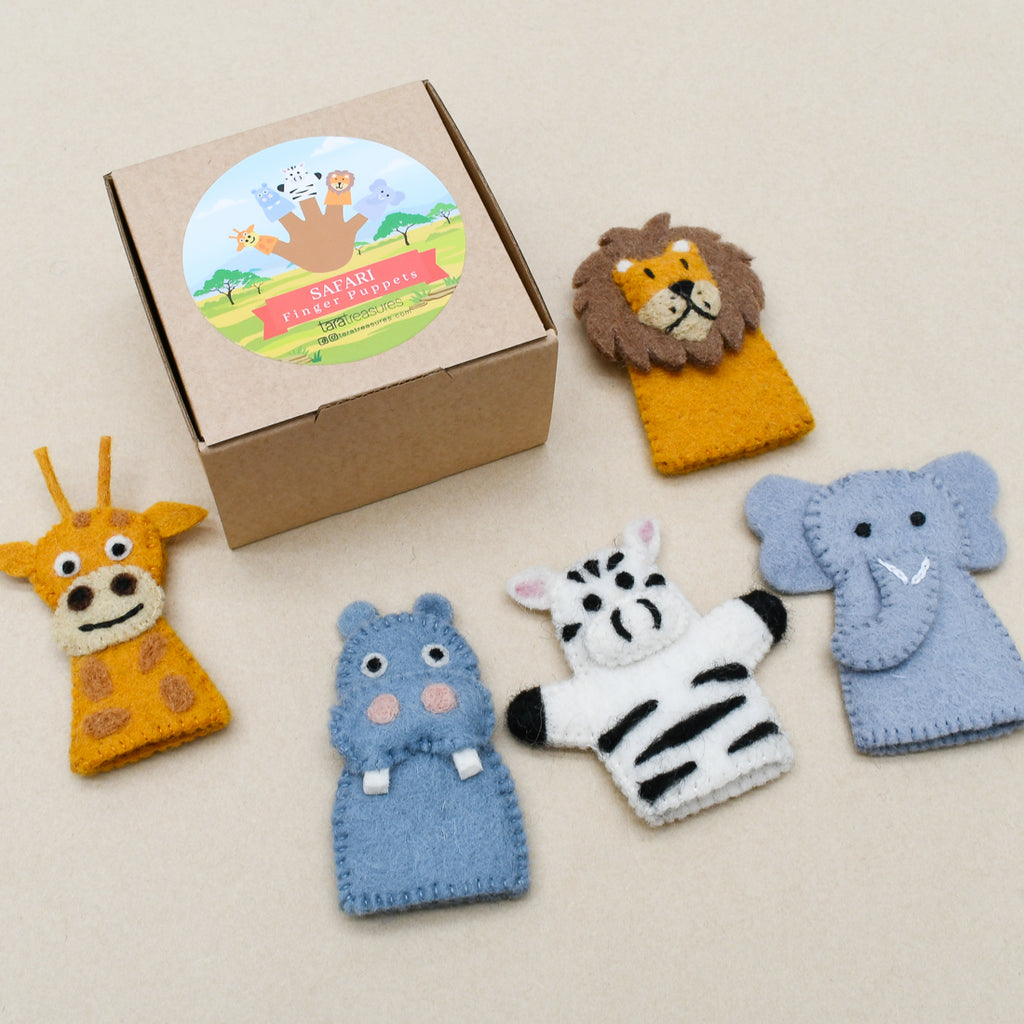 Safari Animals, Finger Puppet Set - Tara Treasures