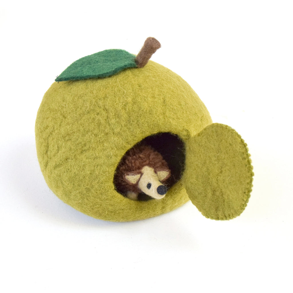 Felt Green Apple House with Hedgehog Toy - Tara Treasures
