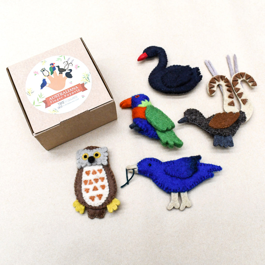 Australian Animals D, Birds of Australia, Finger Puppets Set - Tara Treasures