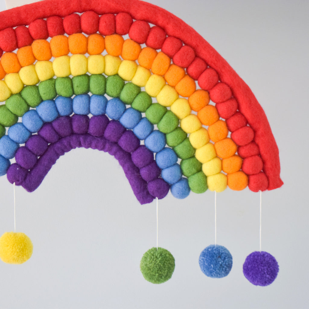 Rainbow Felt Ball Hanging - Colourful - Tara Treasures