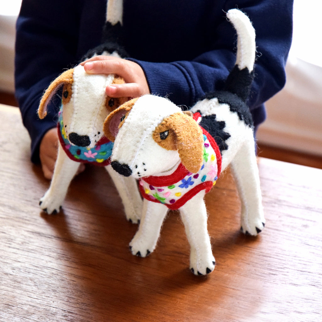 Felt Dog Beagle Toy - White Vest - Tara Treasures