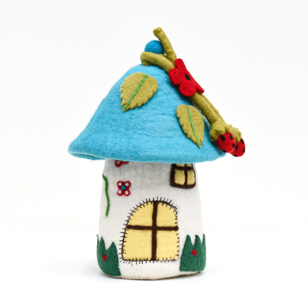 Fairies and Gnomes House - Blue Roof - Tara Treasures