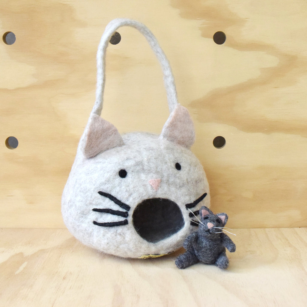 Felt Cat House Bag with Cat Toy - Tara Treasures