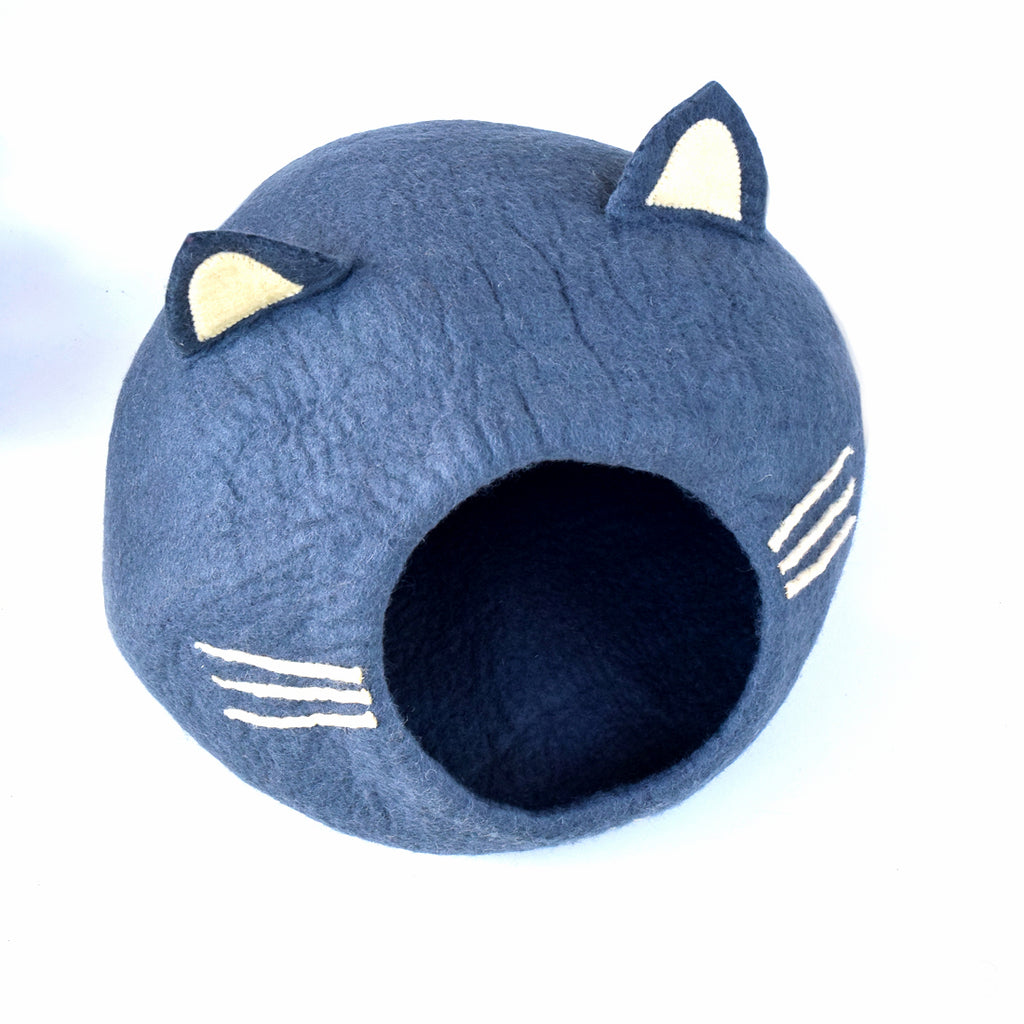 Large Cat Cave - Cat Head Dark Grey - Tara Treasures