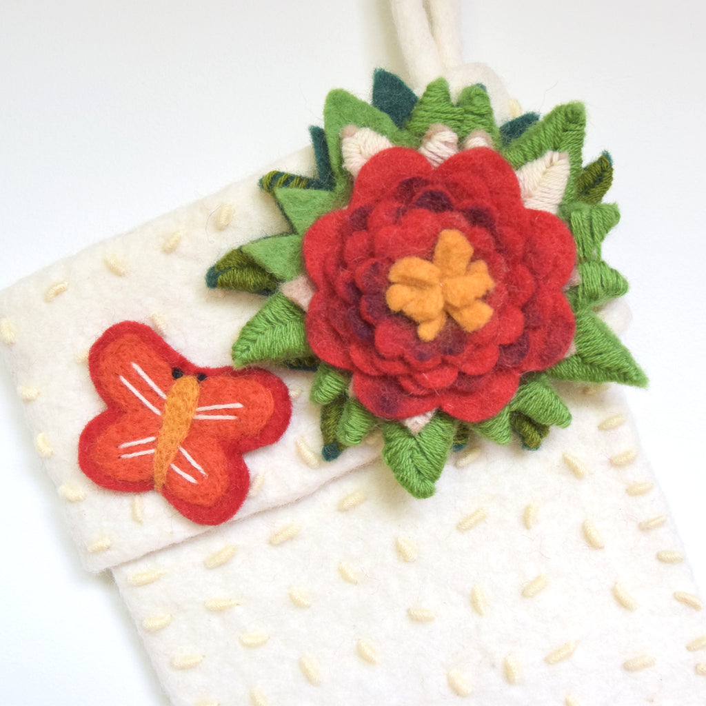 Felt Christmas Stocking - White with Flower - Tara Treasures