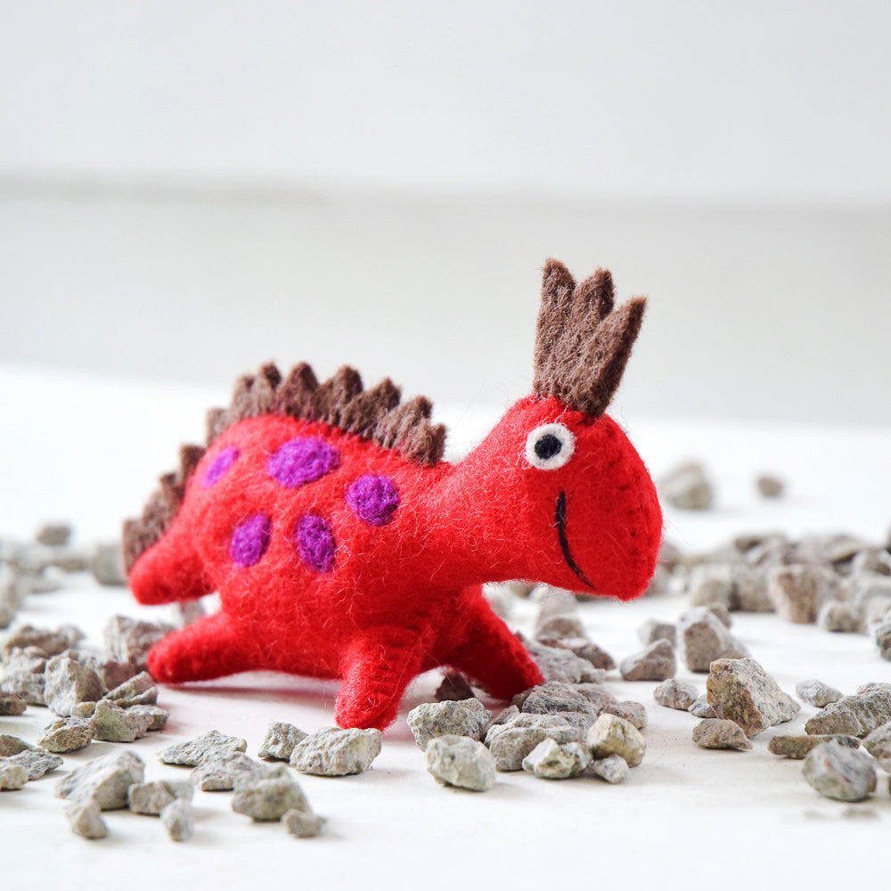 Felt Dinosaur Toy - Red Crown - Tara Treasures