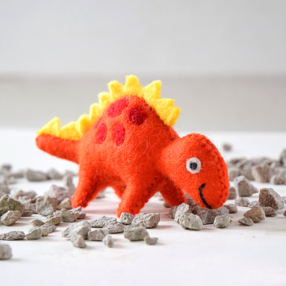 Felt Dinosaur Toy - Yellow Spikes - Tara Treasures