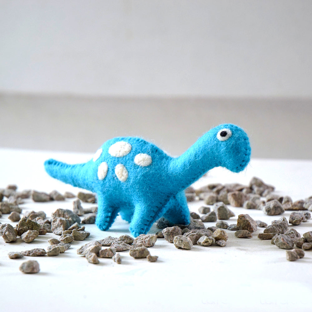 Felt Dinosaur Toy - Blue Spots - Tara Treasures