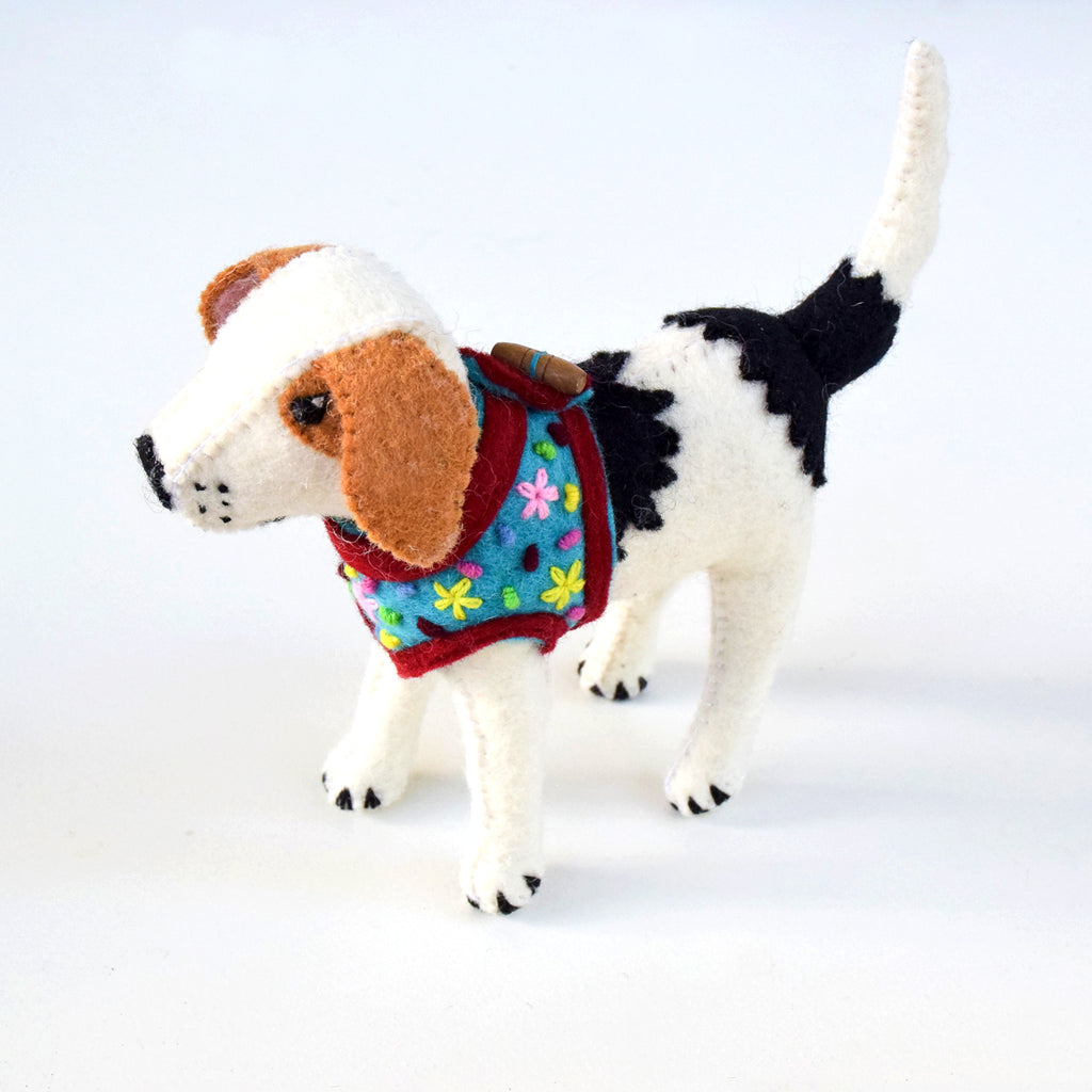 Felt Dog Beagle Toy - Blue Vest - Tara Treasures