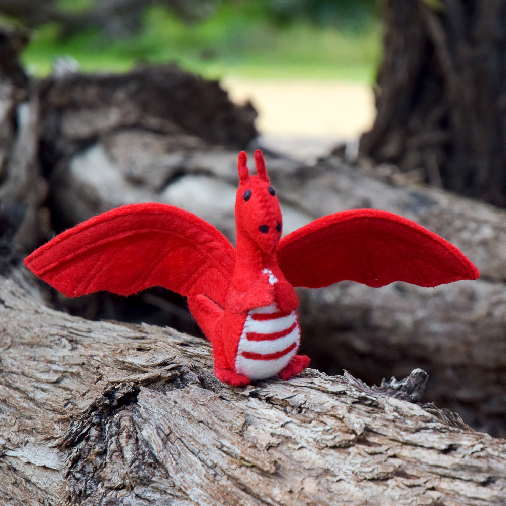 Felt Dragon Toy - Red - Tara Treasures