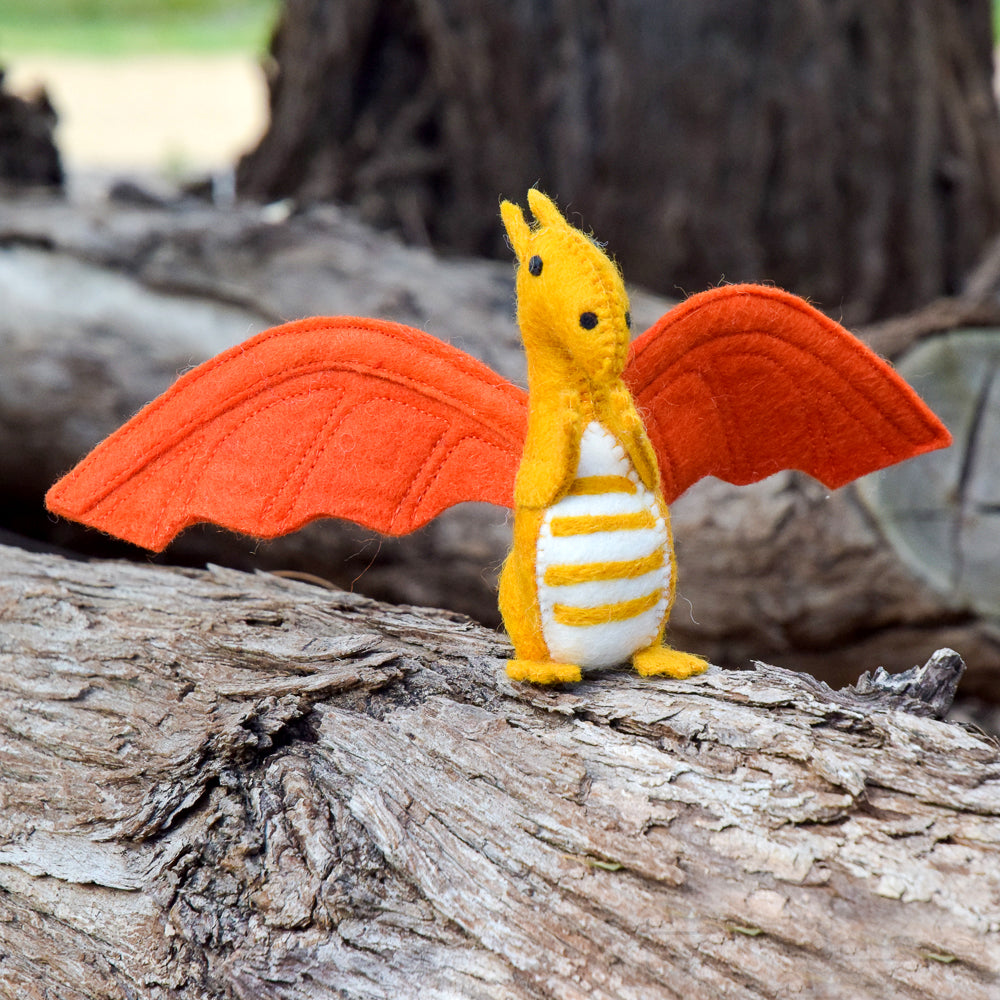 Felt Dragon Toy - Orange - Tara Treasures