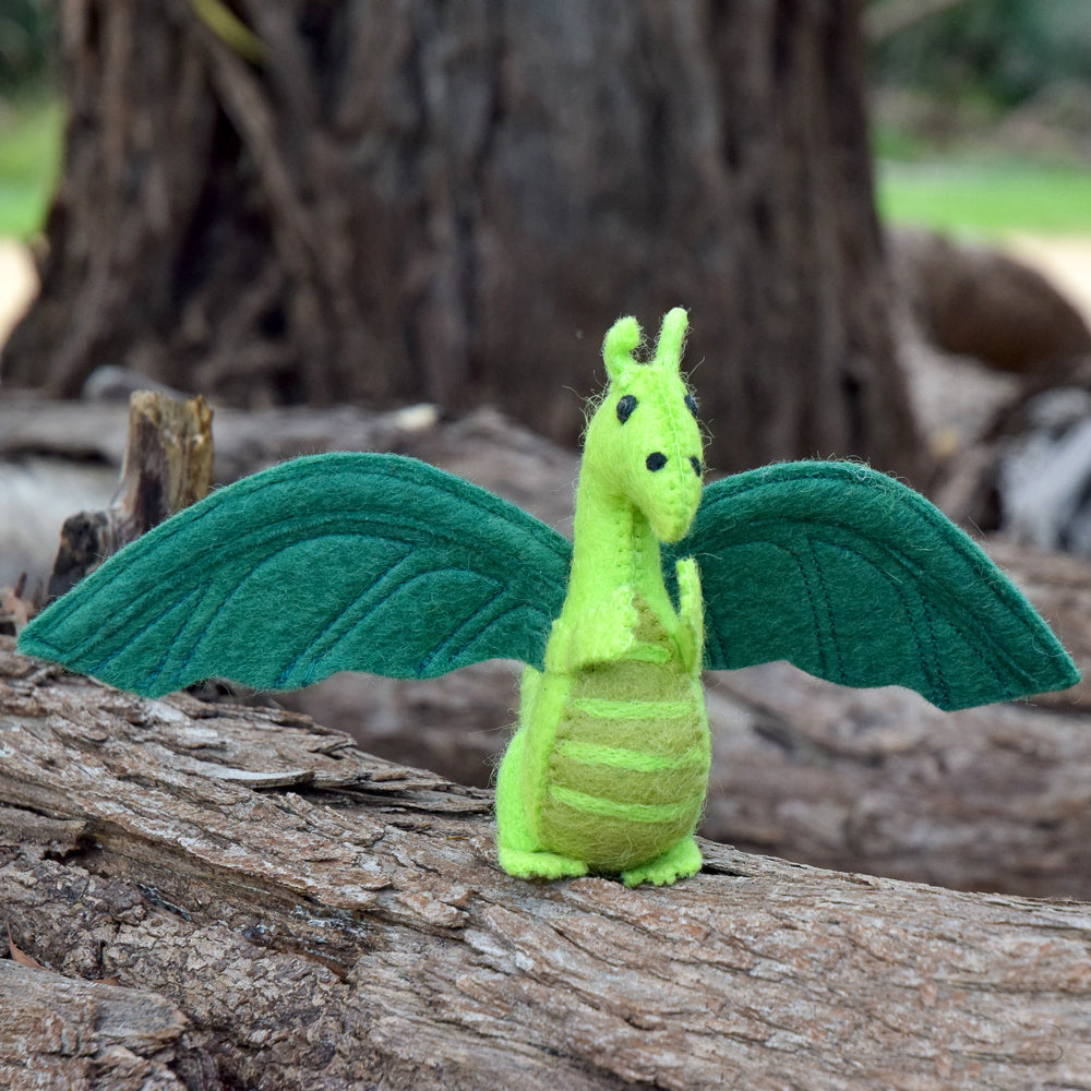 Felt Dragon Toy - Green - Tara Treasures