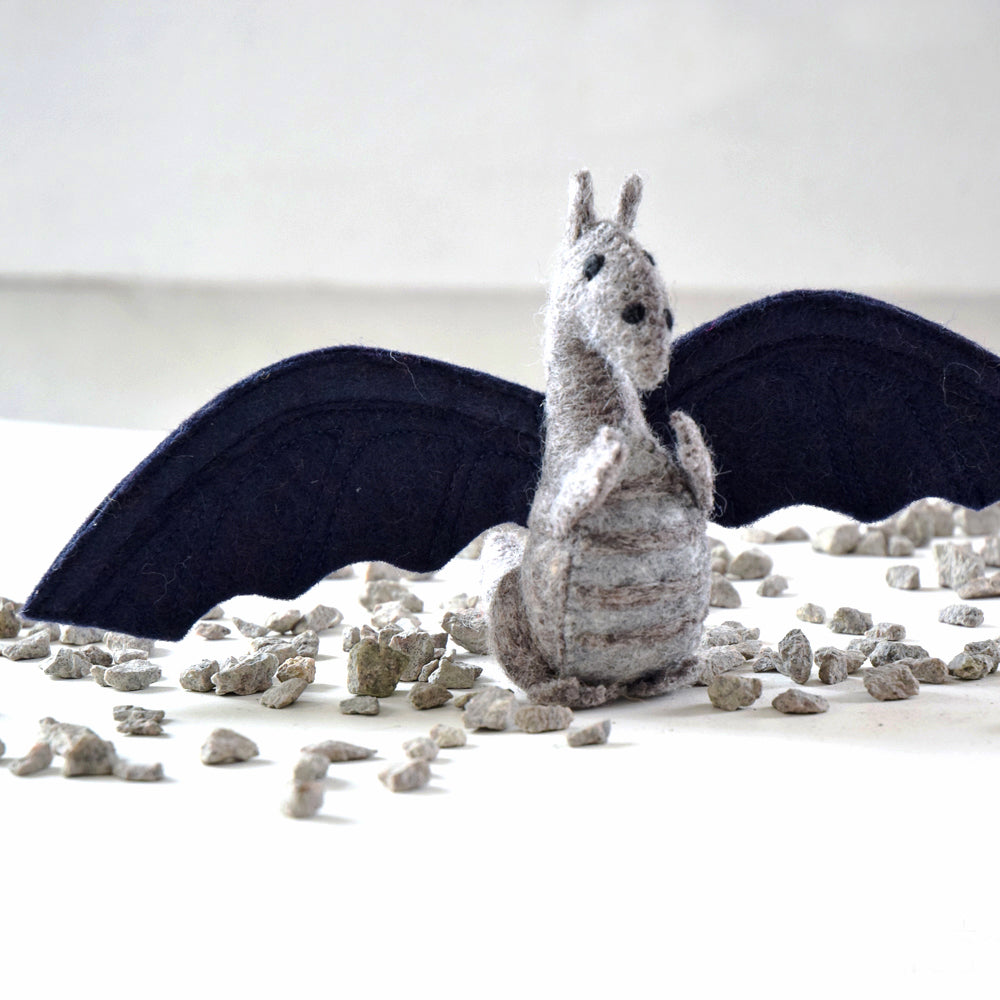 Felt Dragon Toy - Navy Blue - Tara Treasures
