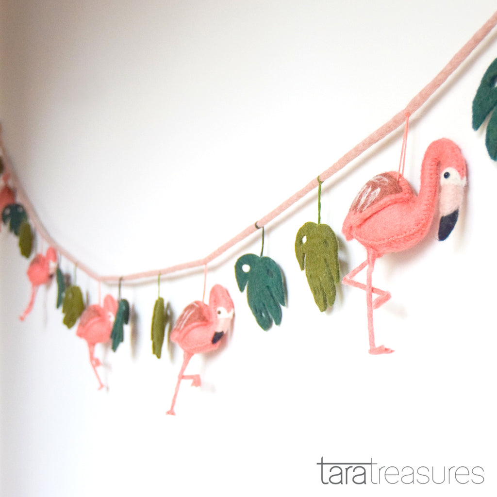 Pink Flamingo Tiki Felt Garland - Tara Treasures
