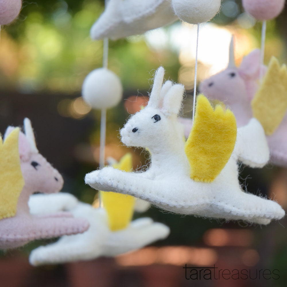 Felt unicorn baby mobile - Tara Treasures