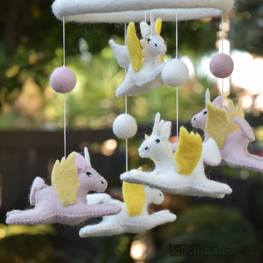 Flying unicorn nursery mobile - Tara Treasures