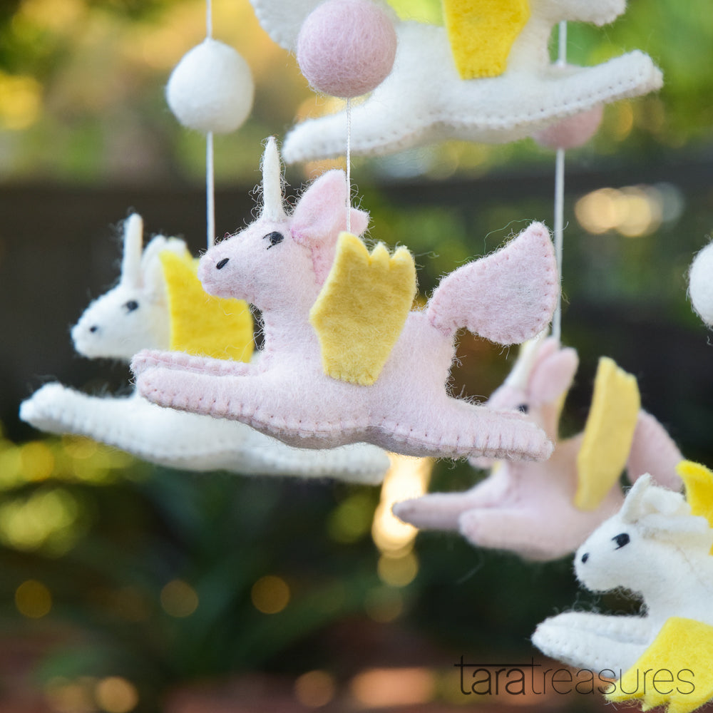 Pink and white unicorn cot crib mobile - Tara Treasures