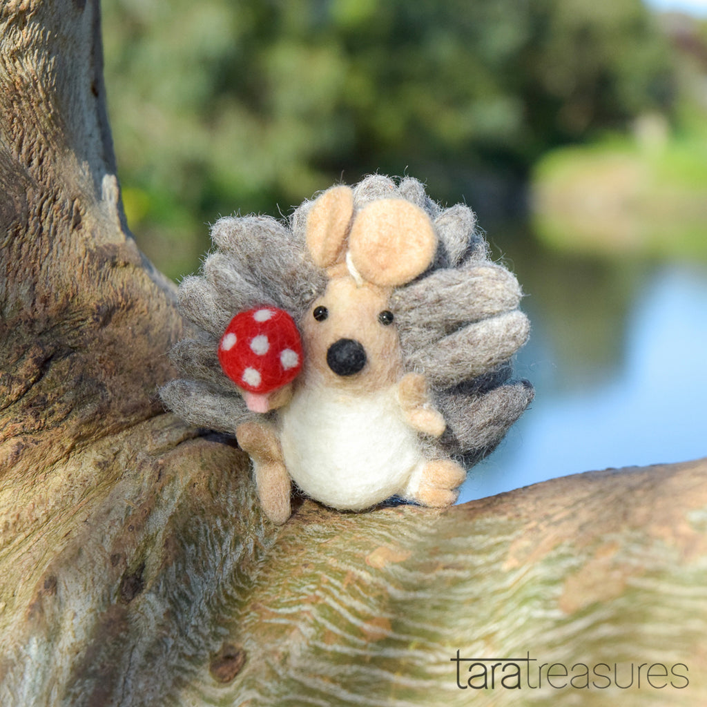 Felt Hedgehog with Mushroom Toy - Tara Treasures