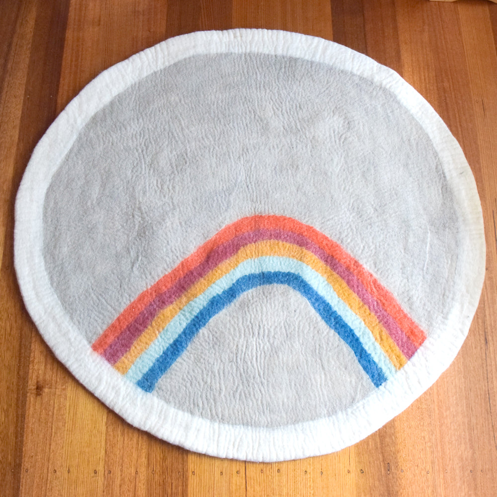 Felt Nursery Rug - Earthy Rainbow - Tara Treasures