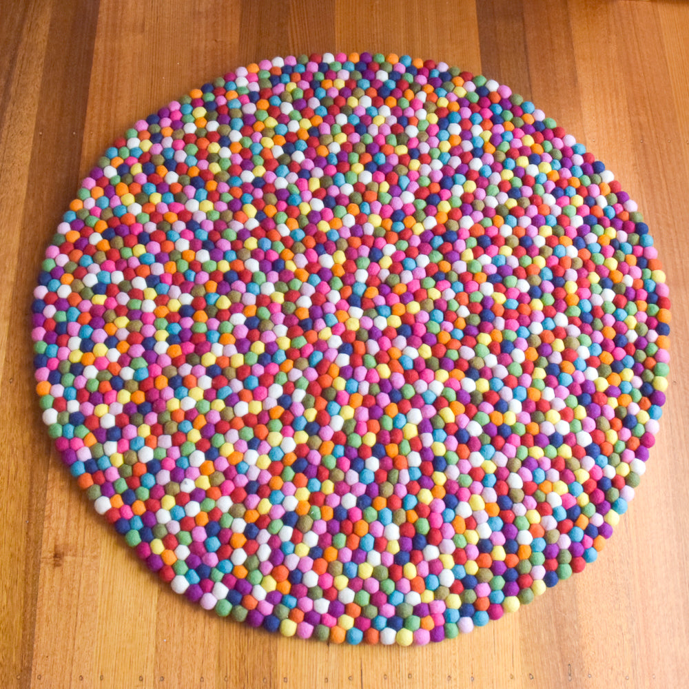 Felt Ball Rug - Rainbow 100cm - Tara Treasures