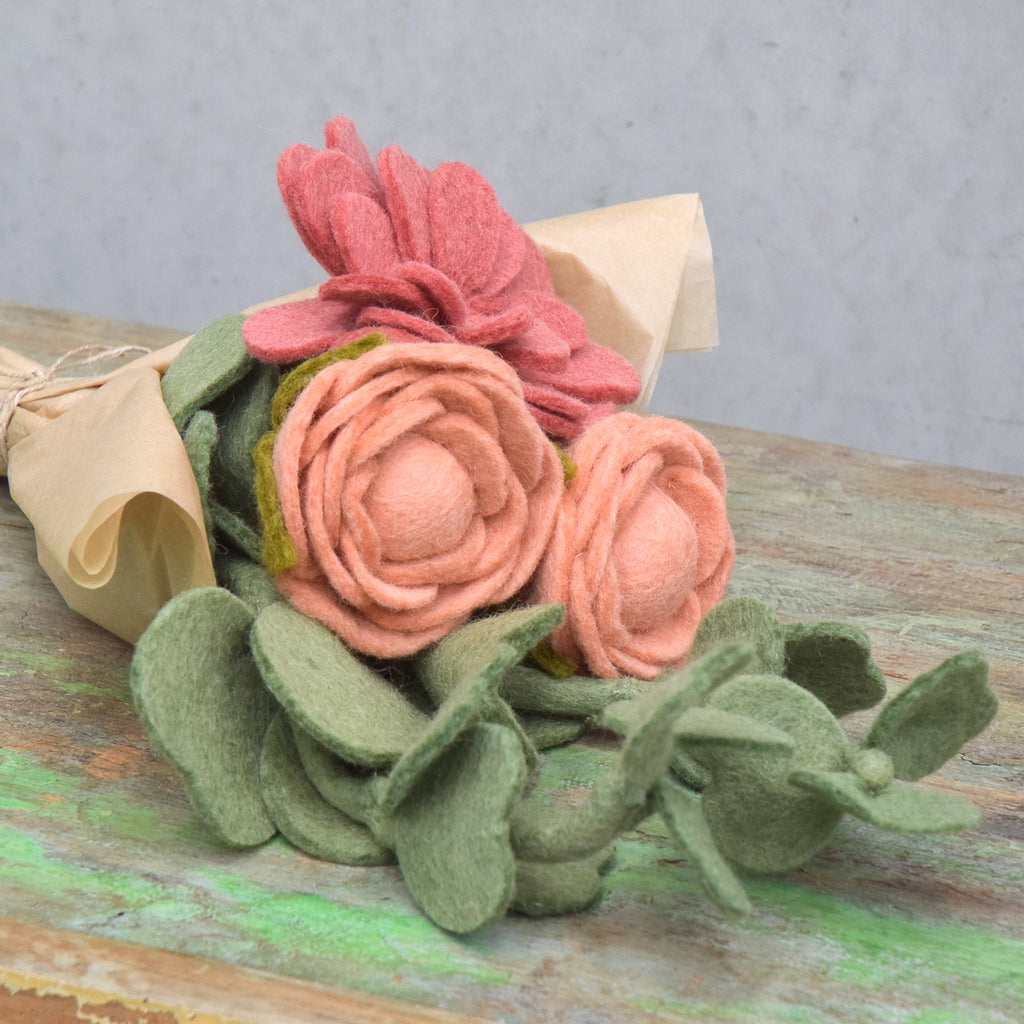Felt Floral Bouquet - Zinnia, Peonies and Eucalyptus Leaves - Tara Treasures