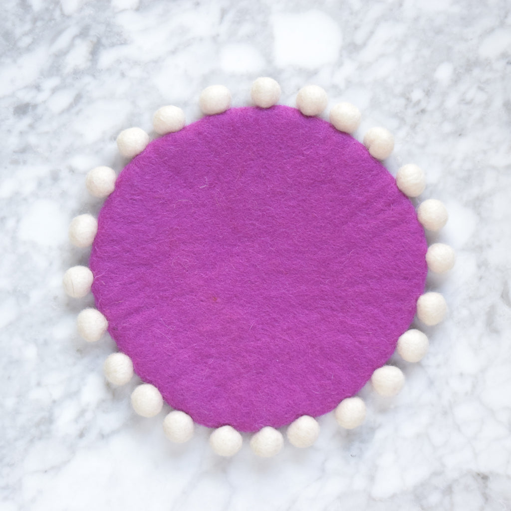 Felt Pot Trivet with Pompoms - Magenta 20cm - Tara Treasures
