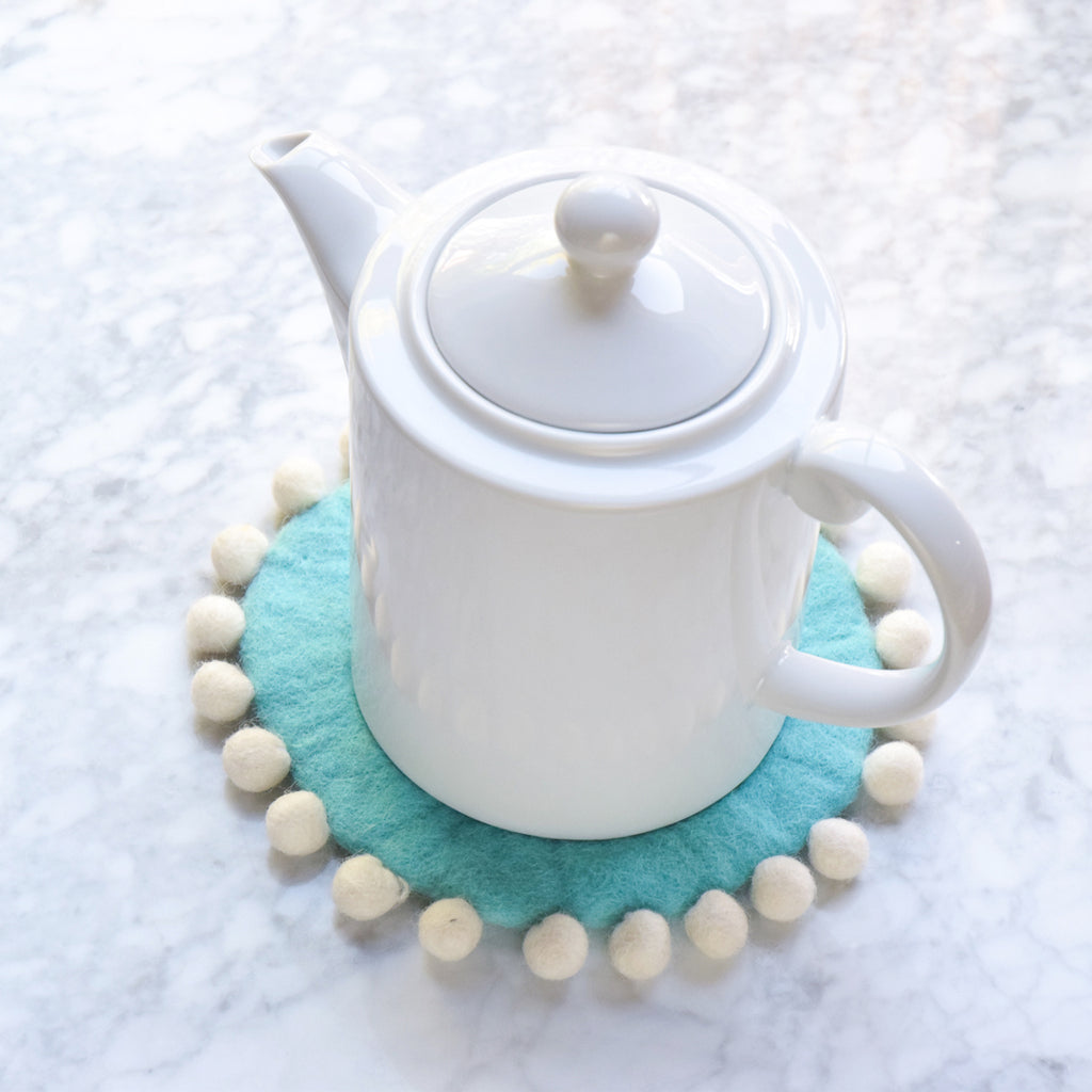Felt Pot Trivet with Pompoms - Aqua 20cm - Tara Treasures