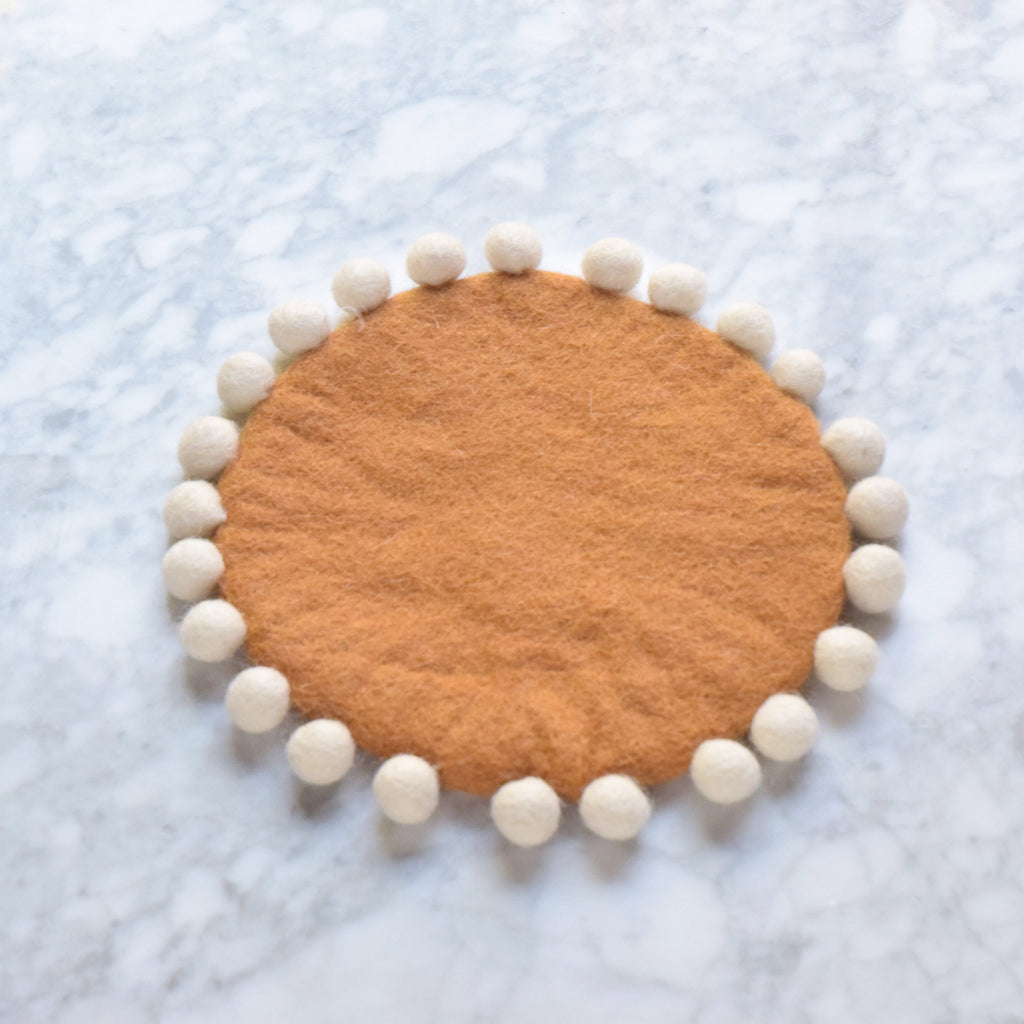 Felt Pot Trivet with Pompoms - Terracotta 20cm - Tara Treasures