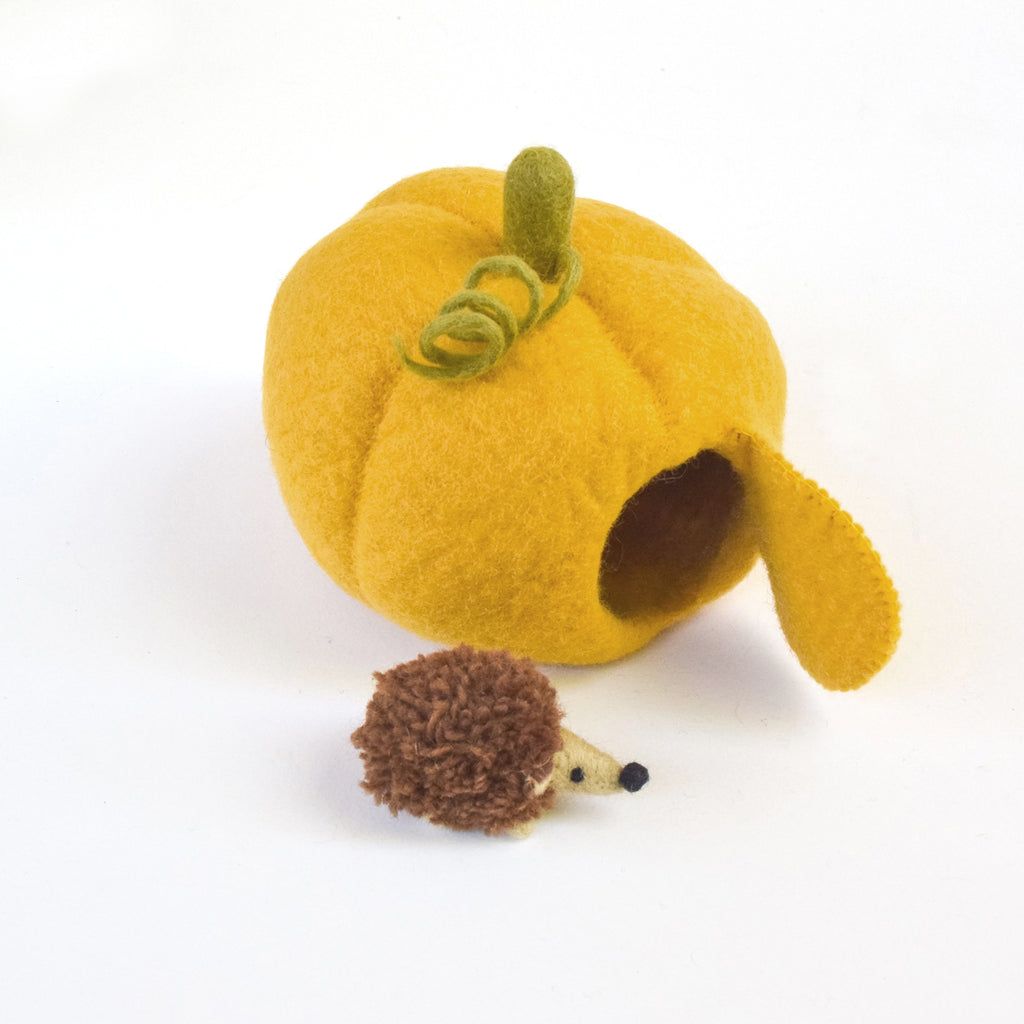 Felt Pumpkin House with Hedgehog Toy - Tara Treasures