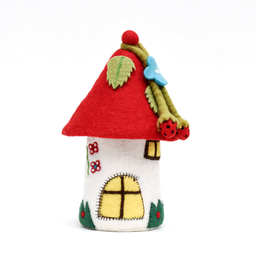 Fairies and Gnomes House - Red Roof - Tara Treasures